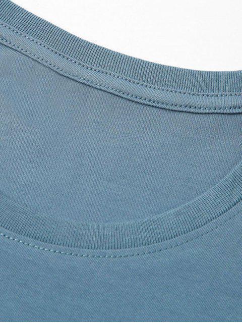 Meer Haidruck Grafisches Grundlegendes T-Shirt - Seiden Blau XL Mobile