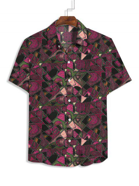 ladies Geometric Print Short Sleeves Casual Shirt - RED XS Mobile