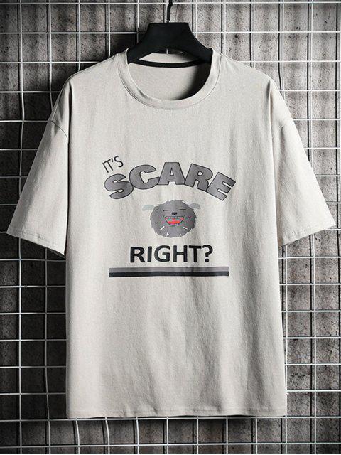 T-shirt de Base Graphique Crâne Dessin Animé Imprimé - Gris Foncé M Mobile