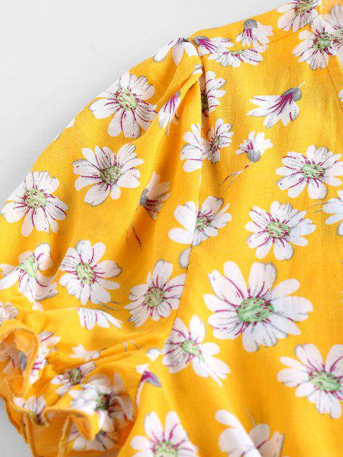 shop ZAFUL Plunge Daisy Print Front Tie Crop Blouse - CORN YELLOW XL Mobile