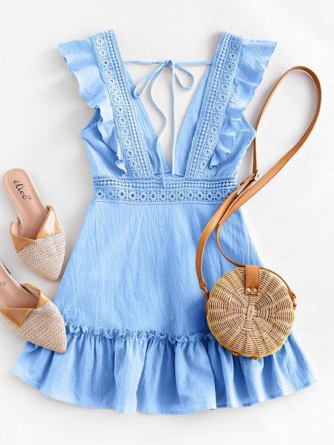 lady ZAFUL Plunge Crochet Panel Ruffle Dress - LIGHT SKY BLUE XL Mobile