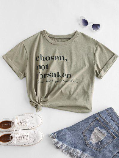 ZAFUL Chosen Not Forsaken Graphic Basic T-shirt - Khaki S