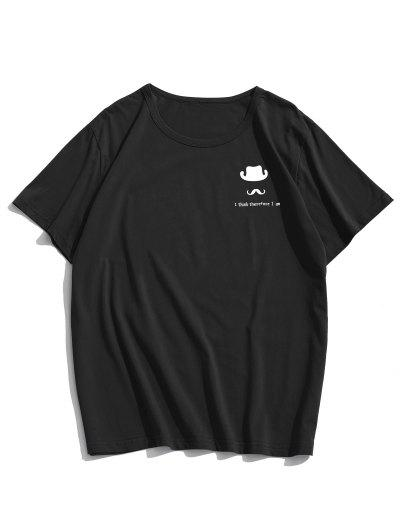 Hat And Mustache Graphic Casual Short Sleeve T Shirt - Black L
