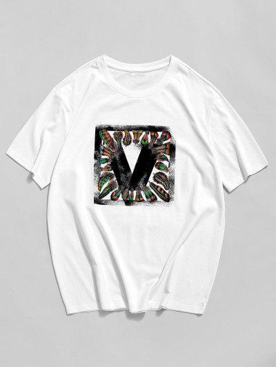 ZAFUL Feather Graphic Print Basic T-shirt - White 2xl