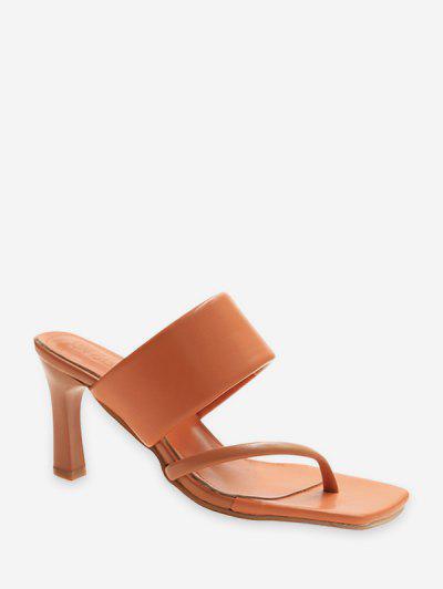 Asymmetrical Leather High Heel Slides