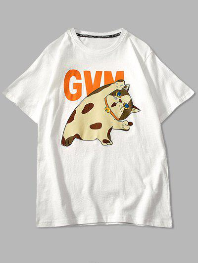 Cartoon Cat Print Basic T-shirt - White 3xl
