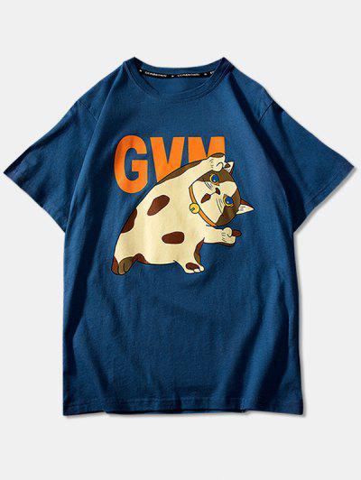 Cartoon Cat Print Basic T-shirt - Blue 4xl