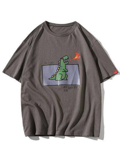 Cartoon Fire Dinosaur Graphic T-shirt - Gray L