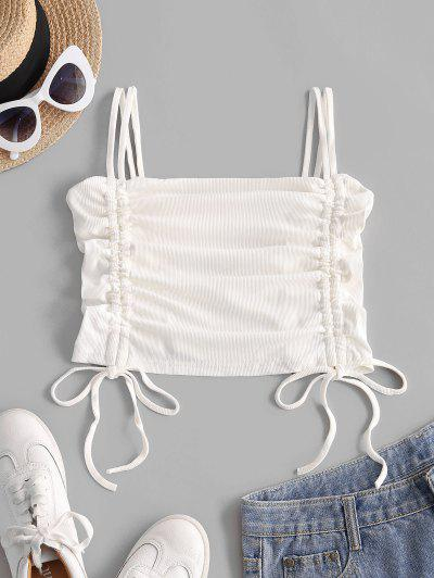 Ribbed Cinched Cami Top - White S