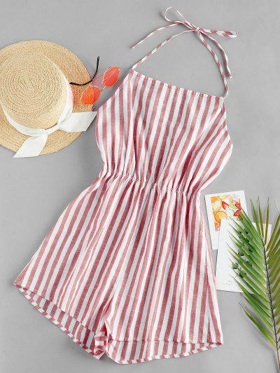 ZAFUL Striped Halter Wide Leg Romper - Multi-h M