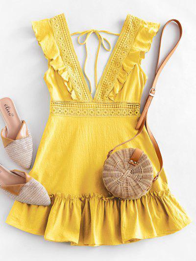 ZAFUL Plunge Crochet Panel Ruffle Dress - Corn Yellow S