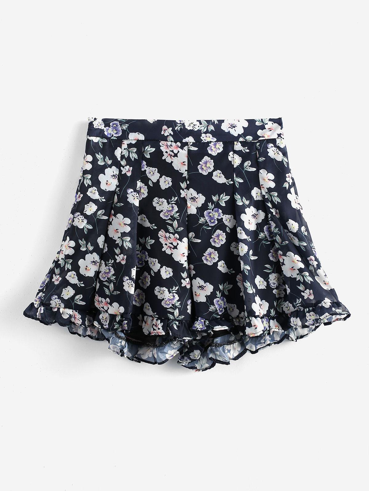 Floral Chiffon Ruffled Shorts