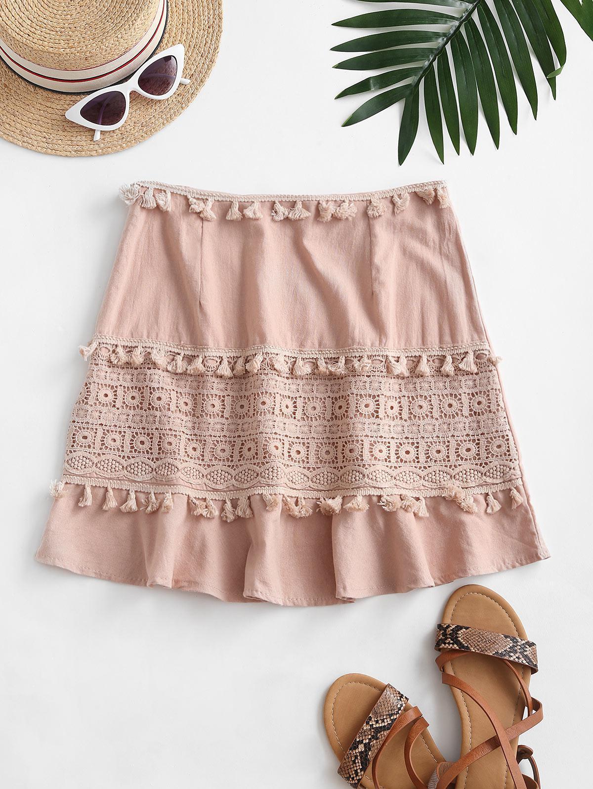 Tassel Crochet Panel Flounce Skirt thumbnail