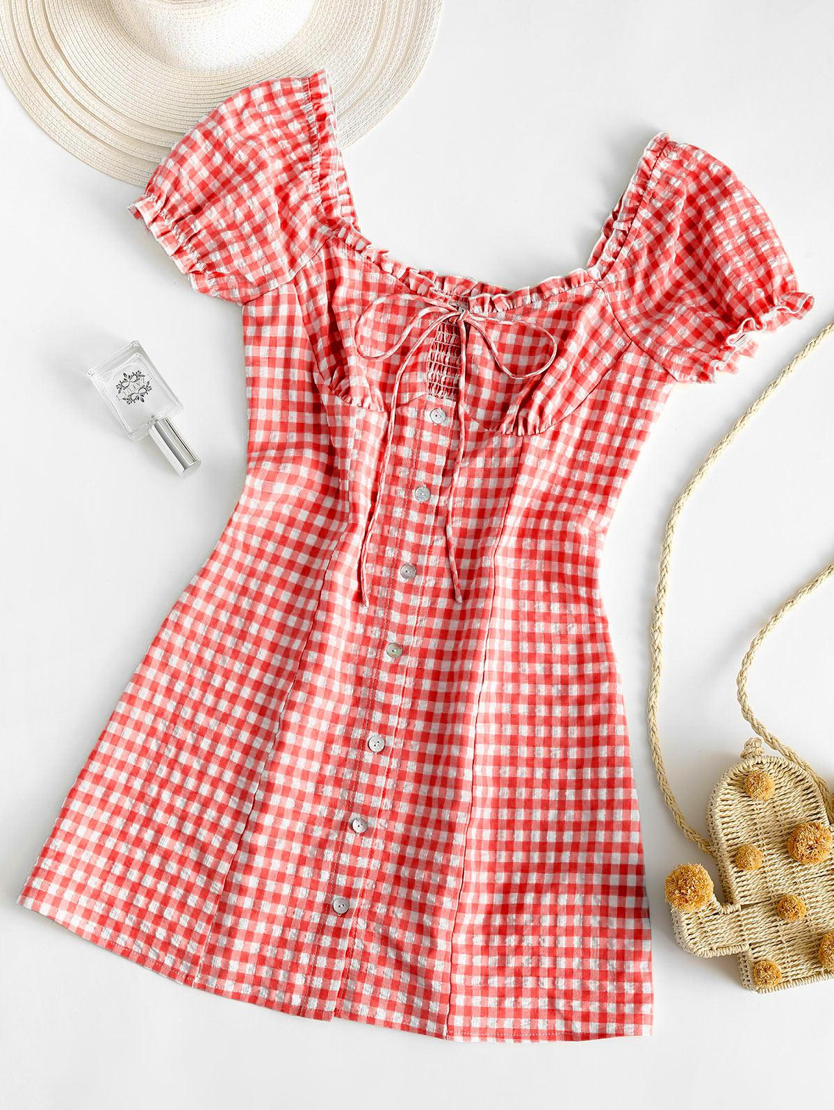 ZAFUL Buttoned Smocked Gingham Sheath Dress