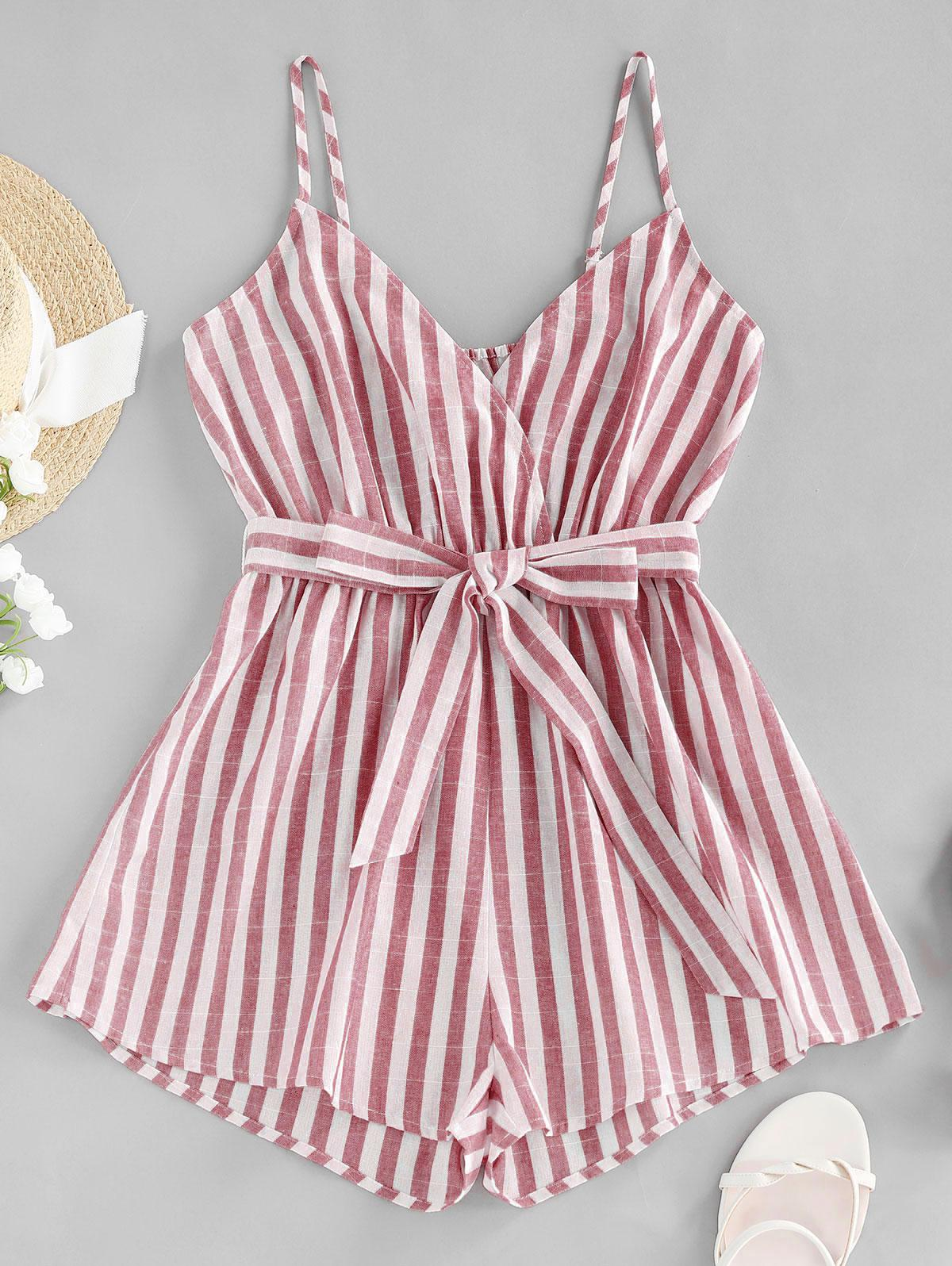 ZAFUL Striped Belted Cami Wide Leg Romper