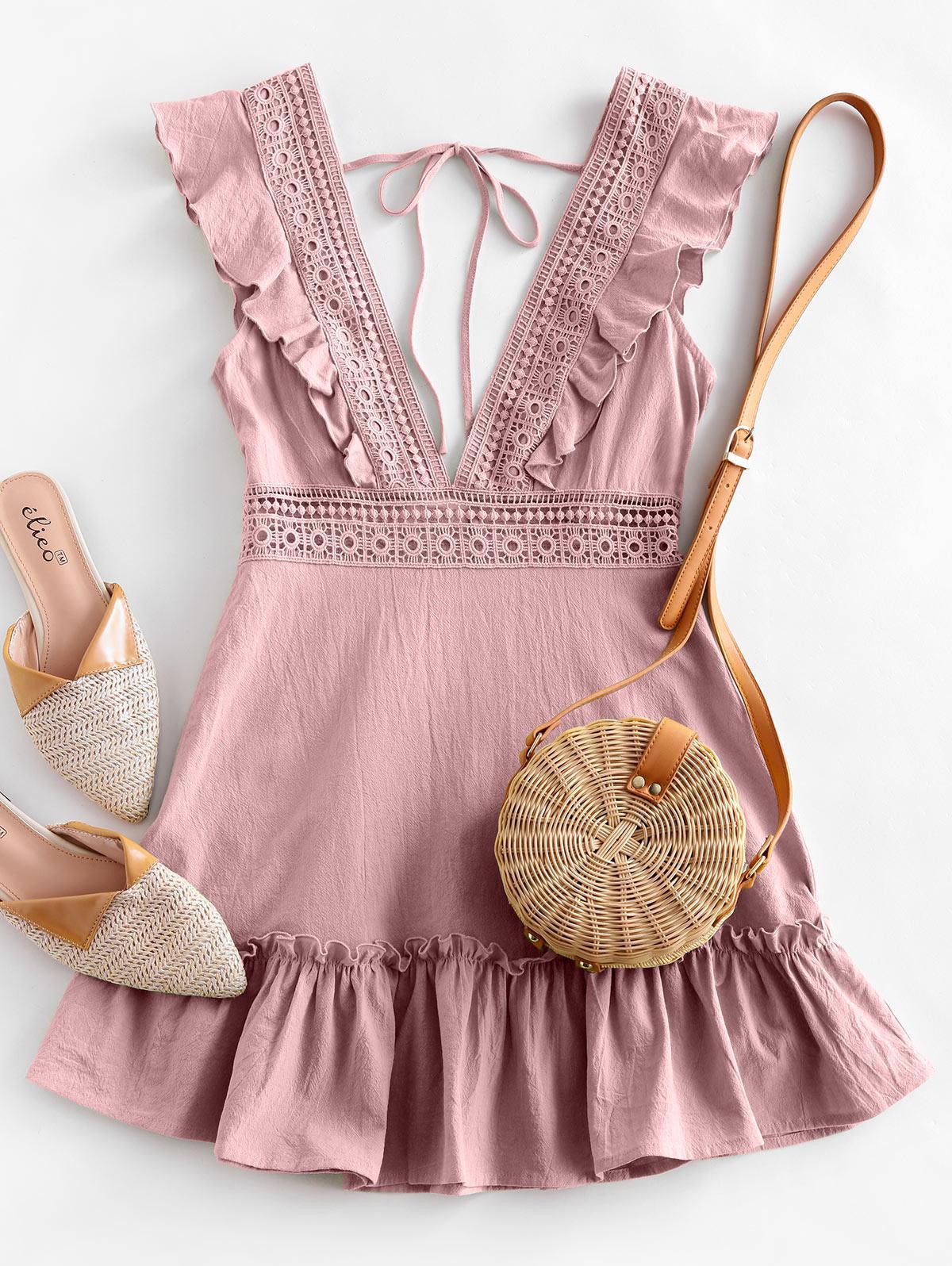 ZAFUL Plunge Crochet Panel Ruffle Dress