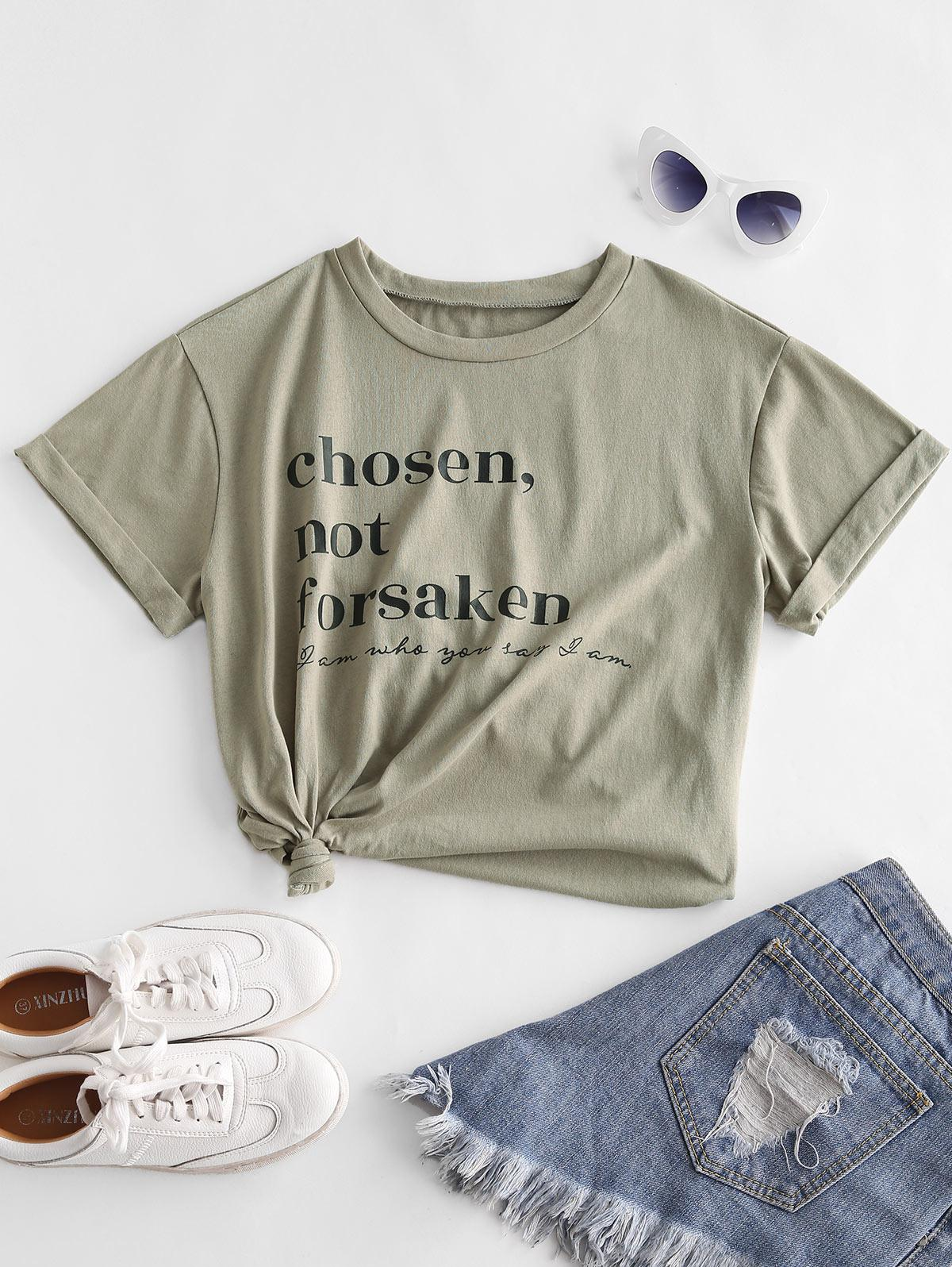 ZAFUL Chosen Not Forsaken Graphic Basic T-shirt