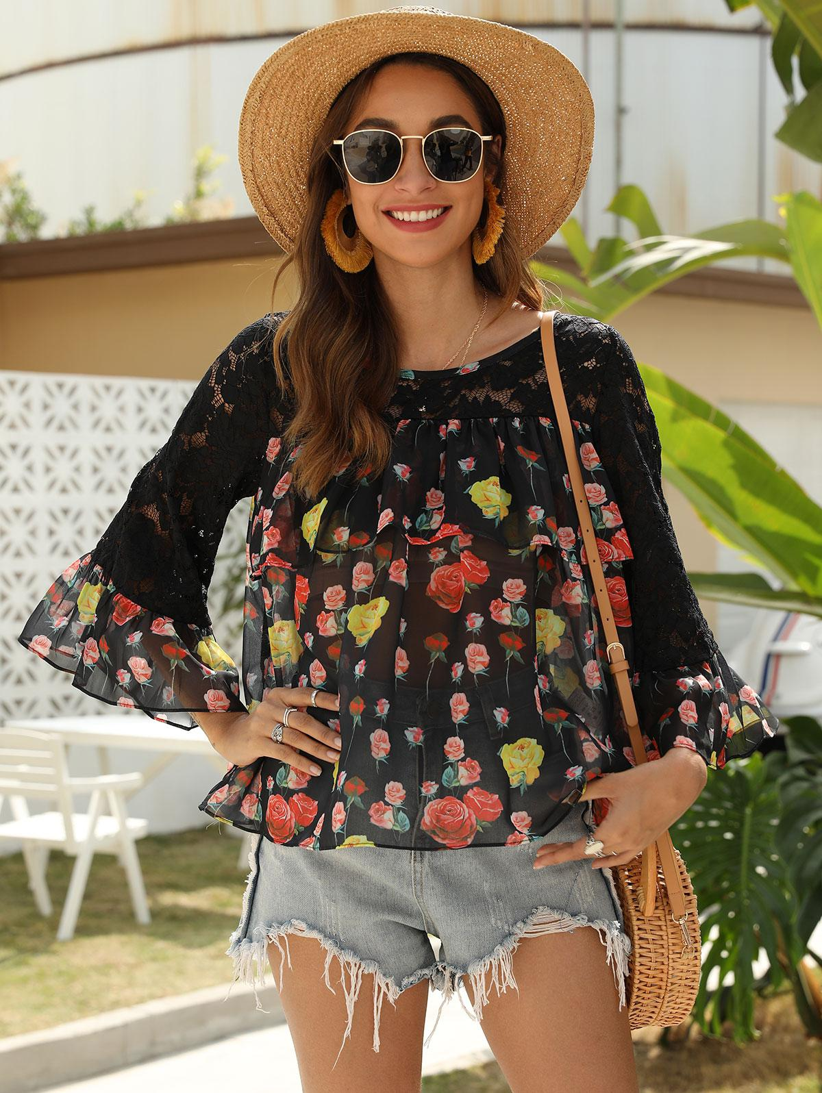 Floral Chiffon Lace Panel Flare Sleeve Top