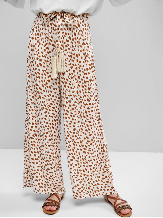 shop Leopard Print Knotted Wide Leg Pants - WHITE M