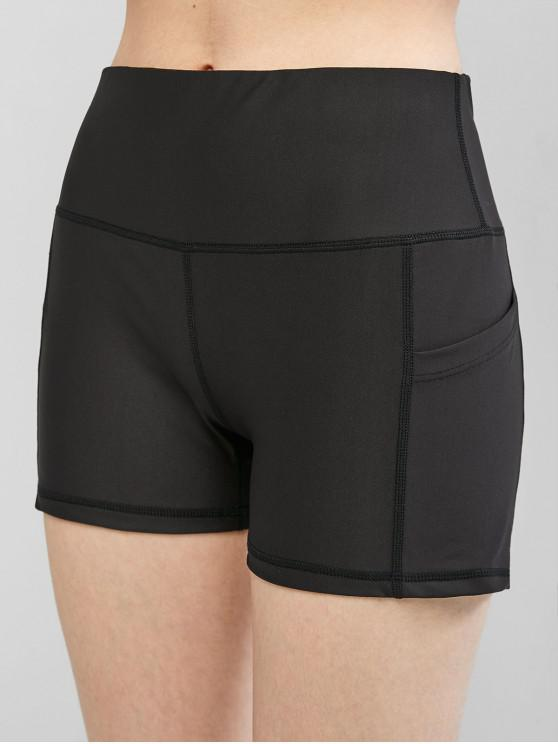 outfit High Waisted Stitching Side Pockets Biker Shorts - BLACK S