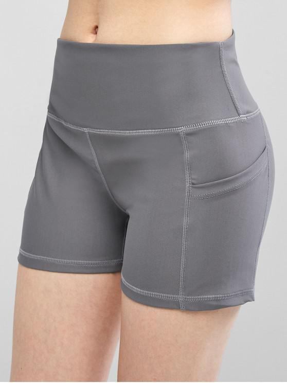 fashion High Waisted Stitching Side Pockets Biker Shorts - GRAY CLOUD L