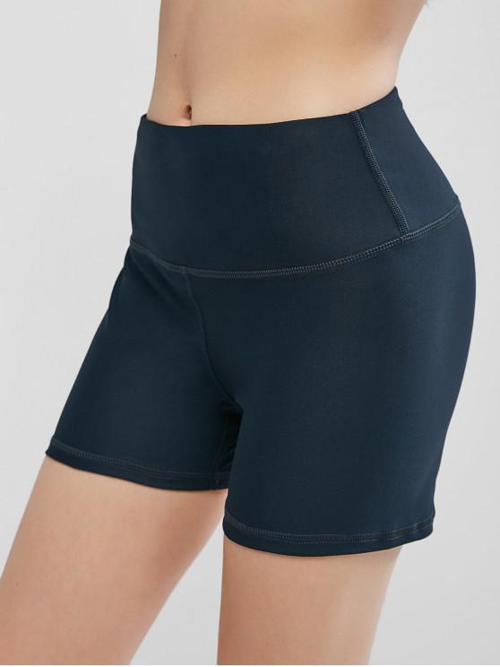 trendy High Waisted Stitching Hidden Pocket Biker Shorts - MIDNIGHT BLUE XL