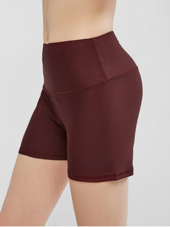 outfits High Waisted Stitching Hidden Pocket Biker Shorts - RED WINE L