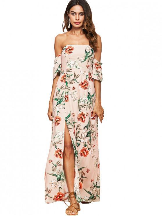 affordable Flower Print Off Shoulder Slit Maxi Dress - APRICOT XL