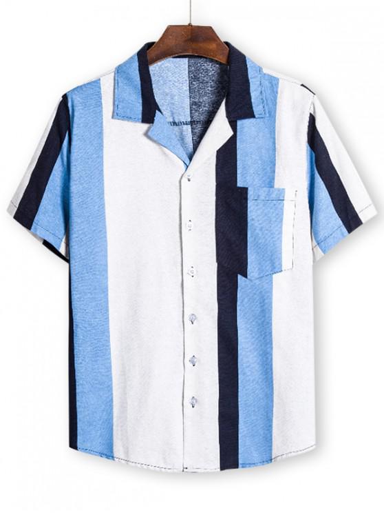 Camisa de Bloqueo de Color con Bolsillo - Multicolor M