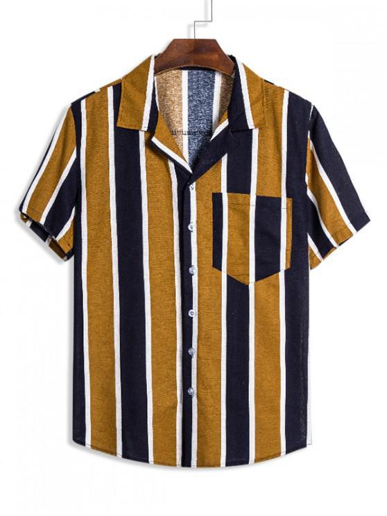 Camisa Lino a Rayas con Bolsillo de Bloqueo de Color - Multicolor M