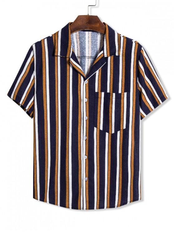 Camisa de couro artificial e linho com remendos - Multi 3XL