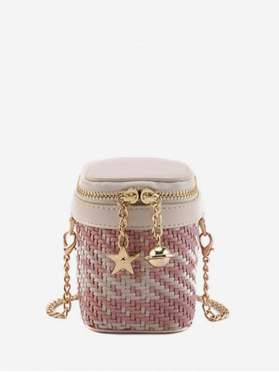 Star and Bell Pendant Weave Crossbody Bag - زهري