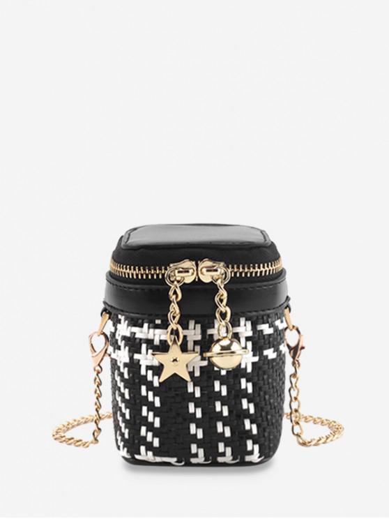 trendy Star and Bell Pendant Weave Crossbody Bag - BLACK