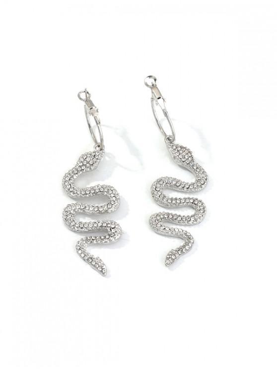trendy Rhinestone Snake Clip Earrings - SILVER