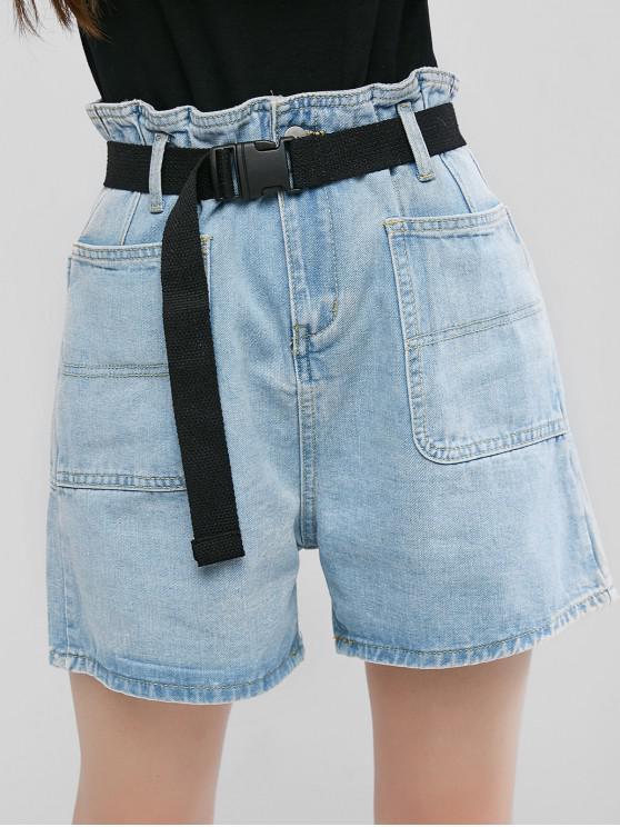 Denim Push Buckle Belted Paperbag Shorts - جينز ازرق M