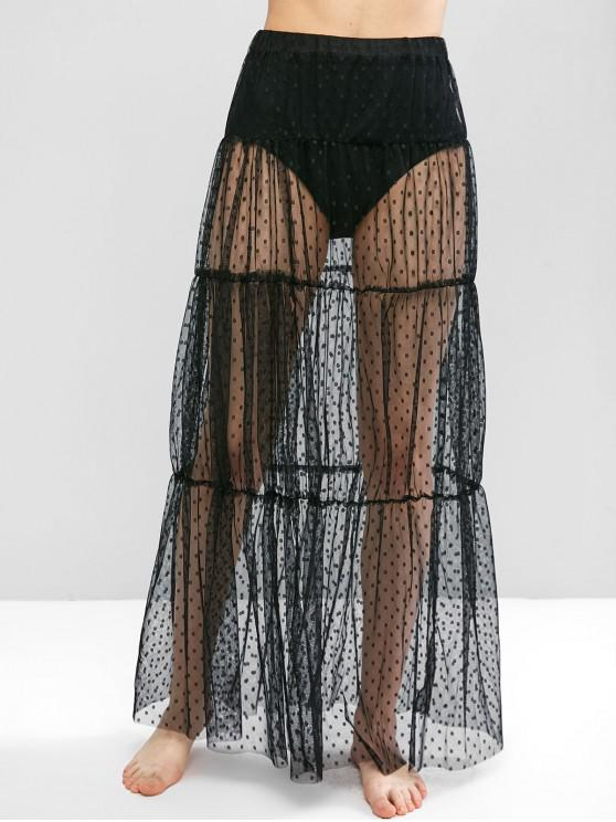 new Swiss Dot Sheer Mesh Tiered Skirt - BLACK S