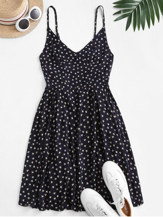 outfits Ditsy Print Backless Cami Dress - CADETBLUE L