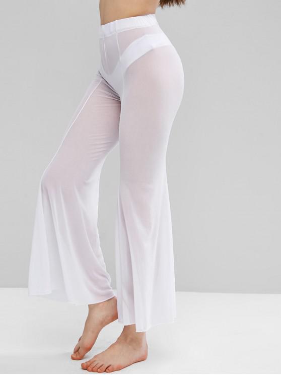 Sheer Mesh Flare Bottom Cover-up Pants - أبيض L
