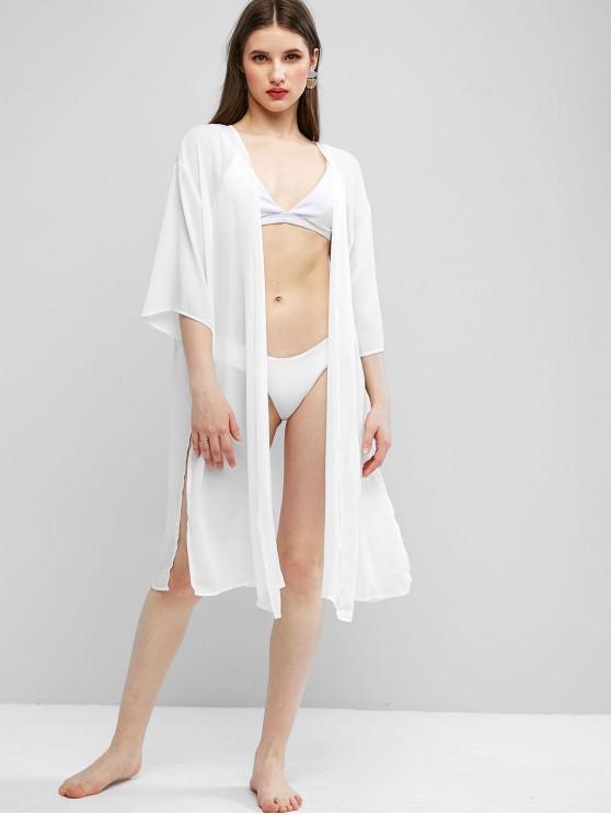 outfits Chiffon Side Slit Cover-up Kimono - WHITE XL