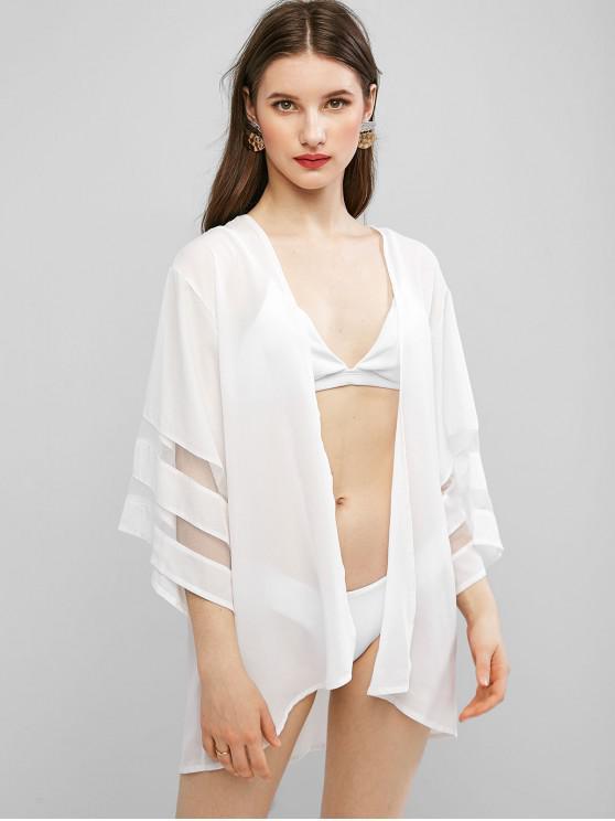Kimono Envuelto de Panel de Malla con Nudo - Blanco M