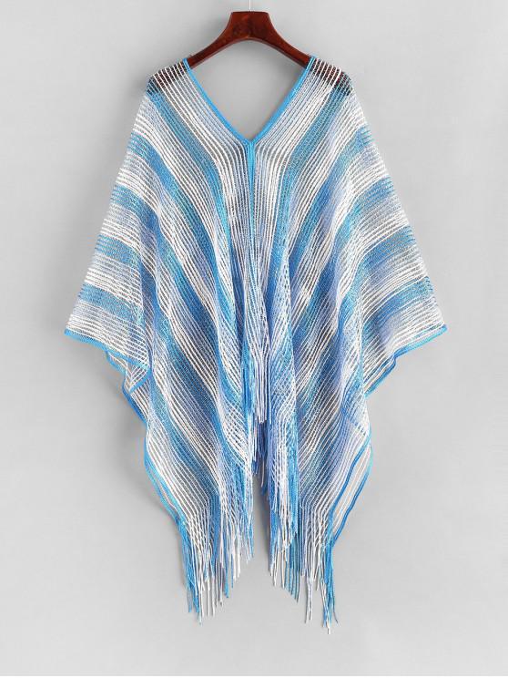 Metallic Thread Fringed Kaftan - سماء الأزرق مقاس واحد