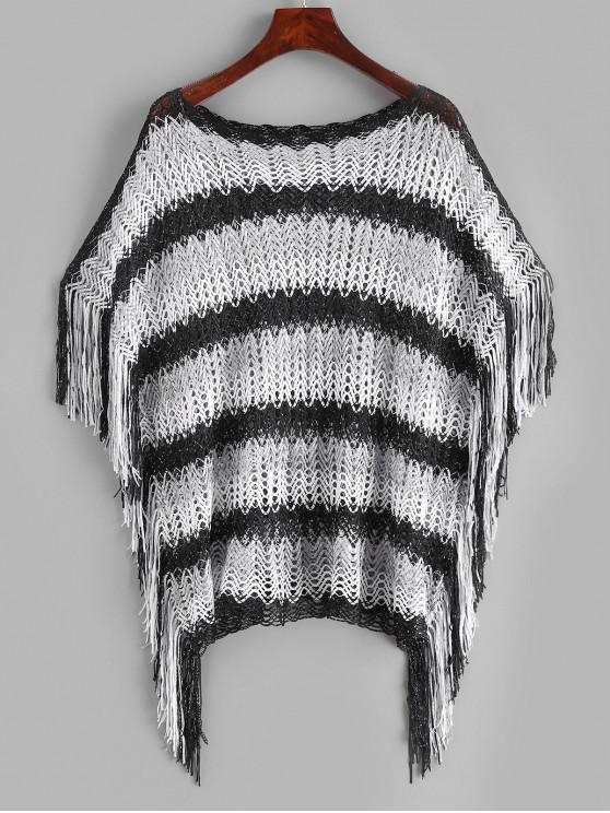 trendy Slash Neck Striped Fringed Kaftan - MULTI-A ONE SIZE