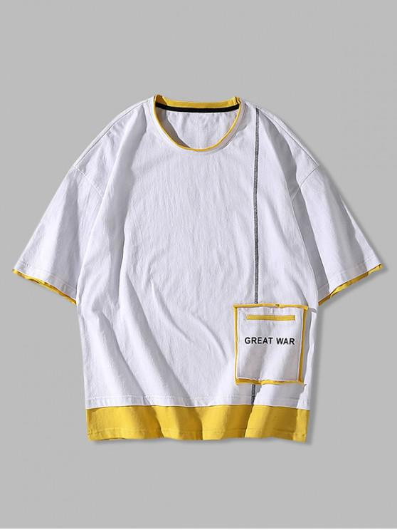 T-shirt Jointif en Blocs de Couleurs - Blanc XS