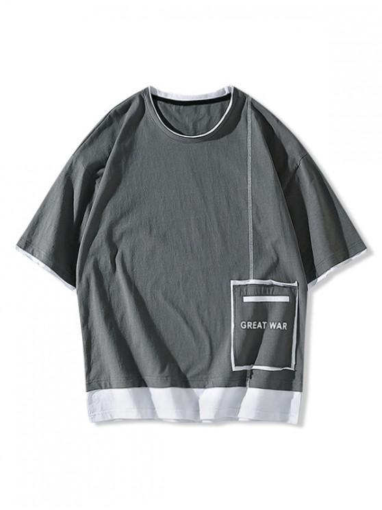 Great War Patchwork Colorblock T-shirt - اللون الرمادي XS