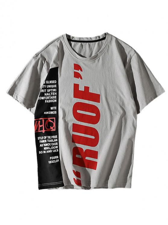buy Letter Printing Casual Color Spliced T-shirt - GRAY M