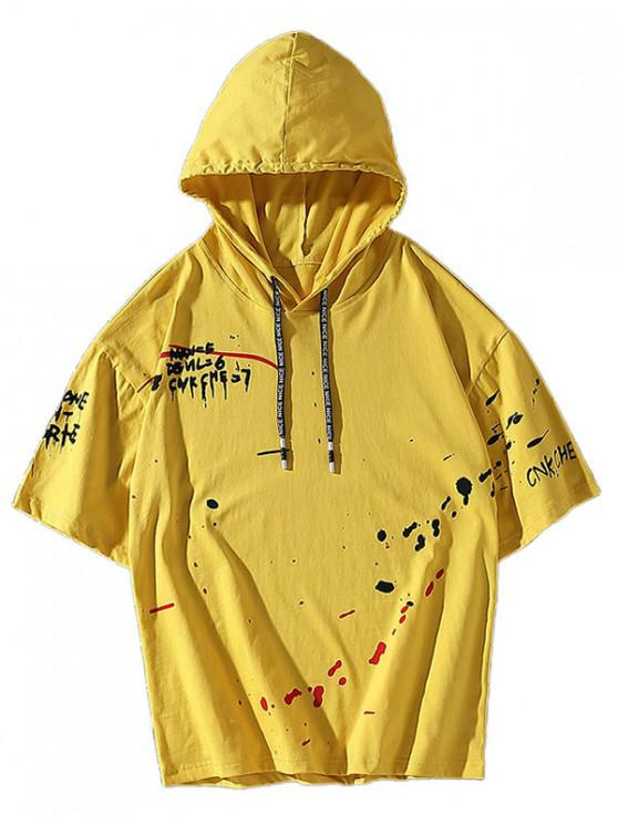 trendy Splatter Painting Casual Hoodie T-shirt - YELLOW L