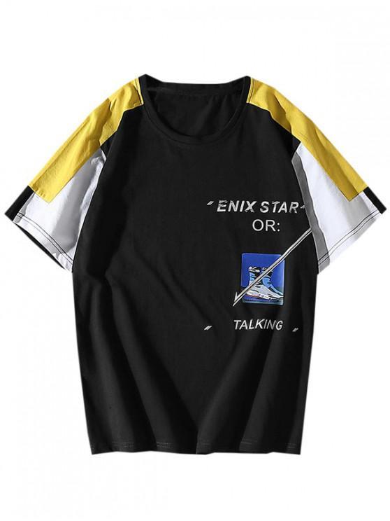 Colorblock Panou grafic Scrisoare model T-shirt - Negru M