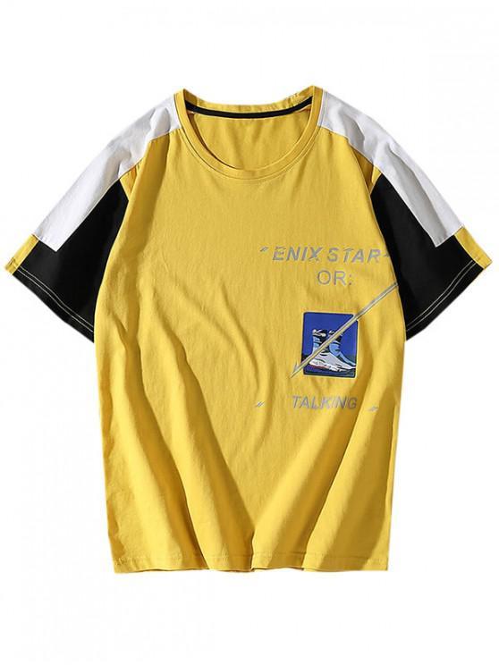 Colorblock Panel Letter Graphic Pattern T-shirt - الأصفر XS