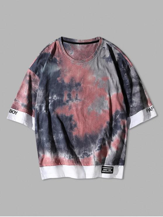 unique Tie Dye Embroidery Colorblock T-shirt - ROGUE PINK M