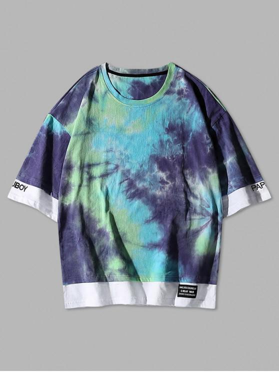 Krawattenfärbende Stickerei Farbblock T-Shirt - Blau L